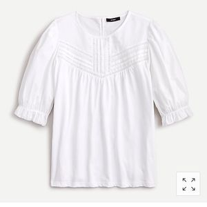 J. Crew white puffed-sleeve woven lace top NWT